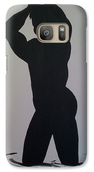 Galaxy Case featuring the painting Male Silhouette by Judi Goodwin