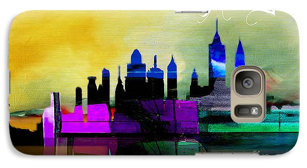 New York Skyline Watercolor Galaxy Case by Marvin Blaine