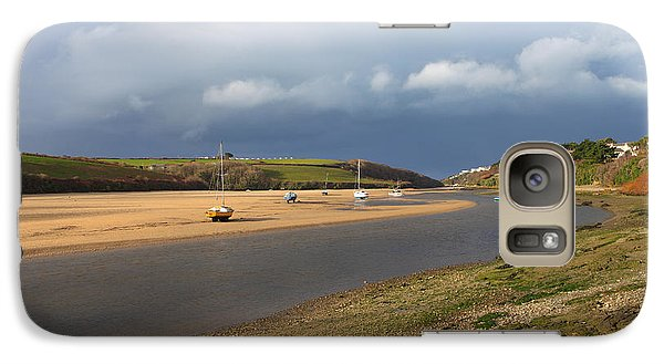 Galaxy Case featuring the photograph Storm Approaches The Gannel Estuary Newquay Cornwall by Nicholas Burningham