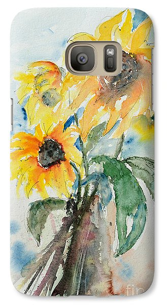 Galaxy Case featuring the painting Sunflowers by Ismeta Gruenwald