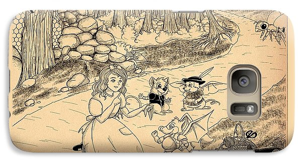 Galaxy Case featuring the drawing Tammy  Meets Cedric The Mongoose by Reynold Jay