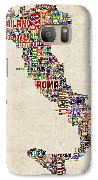 Text Map Of Italy Map Galaxy Case by Michael Tompsett