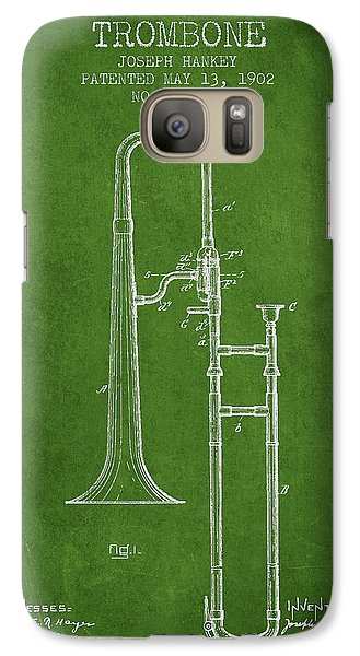 Trombone Galaxy S7 Case - Trombone Patent From 1902 - Green by Aged Pixel