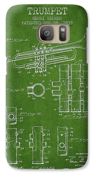 Trumpet Patent From 1939 - Green Galaxy Case by Aged Pixel