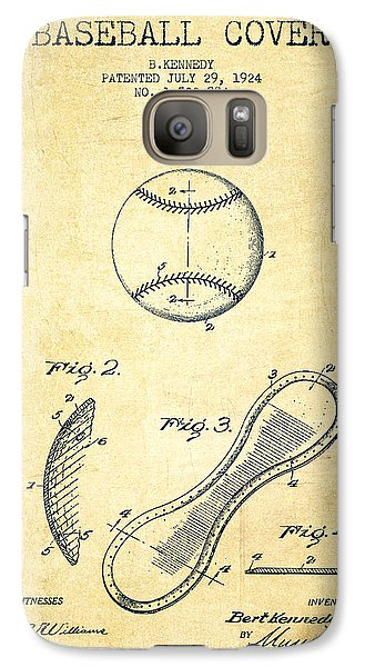 Baseball Cover Patent Drawing From 1924 Galaxy Case by Aged Pixel