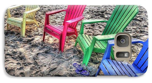 Galaxy Case featuring the digital art 4 Beach Chairs by Michael Thomas