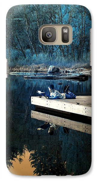 Galaxy Case featuring the photograph Quiet Moments Reading by Rebecca Parker