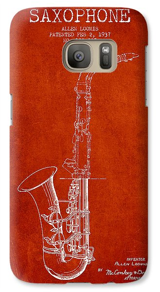 Saxophone Patent Drawing From 1937 - Red Galaxy S7 Case by Aged Pixel