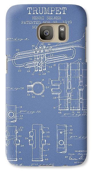 Trumpet Patent From 1939 - Light Blue Galaxy S7 Case by Aged Pixel