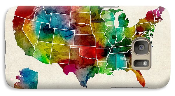 United States Watercolor Map Galaxy Case by Michael Tompsett