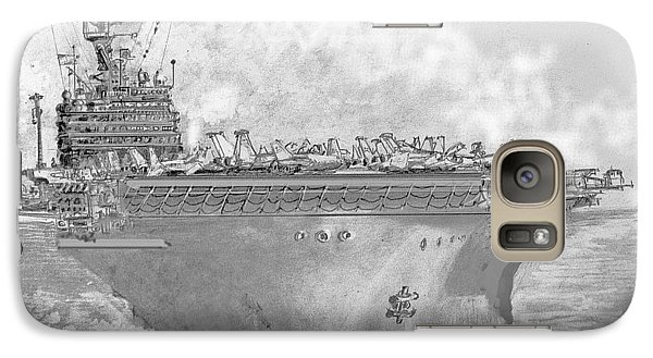 Galaxy Case featuring the drawing Usn Aircraft Carrier Abraham Lincoln by Jim Hubbard