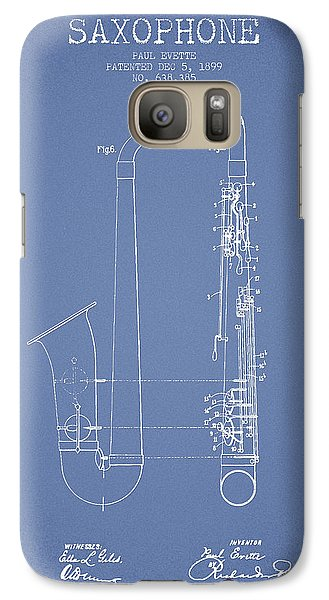 Saxophone Patent Drawing From 1899 - Light Blue Galaxy S7 Case by Aged Pixel