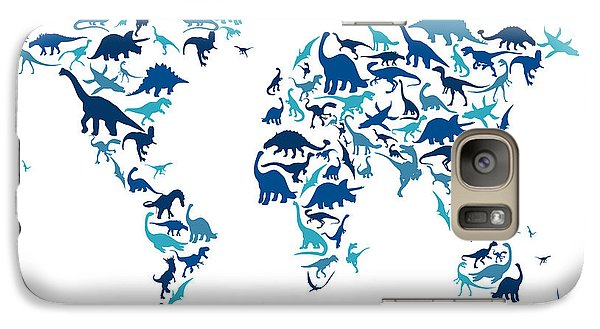 Dinosaur Map Of The World Map Galaxy Case by Michael Tompsett