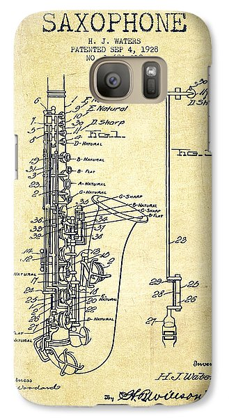 Saxophone Galaxy S7 Case - Saxophone Patent Drawing From 1928 by Aged Pixel