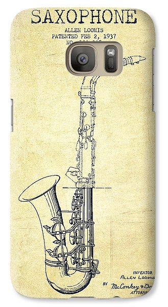 Saxophone Patent Drawing From 1937 - Vintage Galaxy S7 Case by Aged Pixel