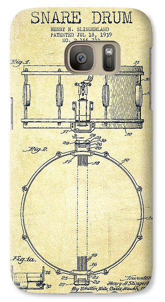 Drum Galaxy S7 Case - Snare Drum Patent Drawing From 1939 - Vintage by Aged Pixel