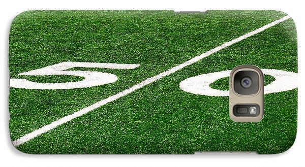50 Yard Line On Football Field Galaxy S7 Case by Paul Velgos