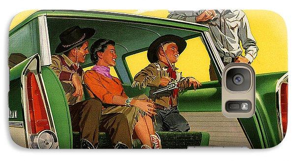 Galaxy Case featuring the digital art 50s Plymouth Ad by Allen Beilschmidt