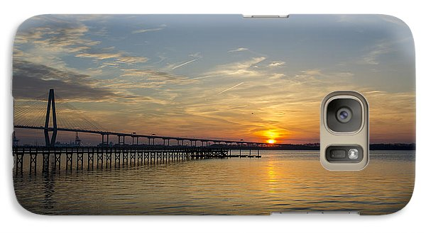 Galaxy Case featuring the photograph Arthur Ravenel Bridge Tranquil Sunset by Dale Powell