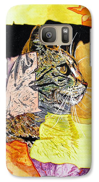 Galaxy Case featuring the painting Cat by Daniel Janda