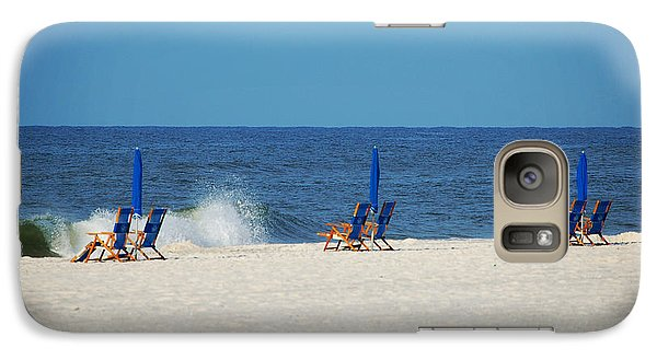 Galaxy Case featuring the digital art 6 Chairs And Umbrella by Michael Thomas