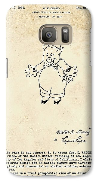 Disney Pig Patent Galaxy S7 Case by Marlene Watson