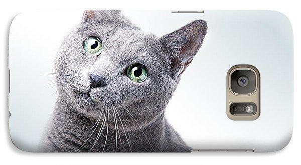 Cat Galaxy S7 Case - Russian Blue Cat by Nailia Schwarz