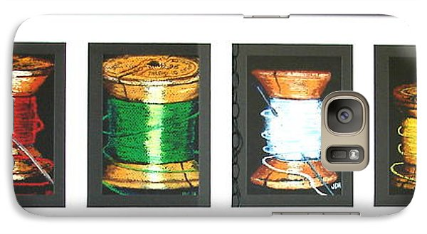 Galaxy Case featuring the drawing 6 Spools by Joseph Hawkins