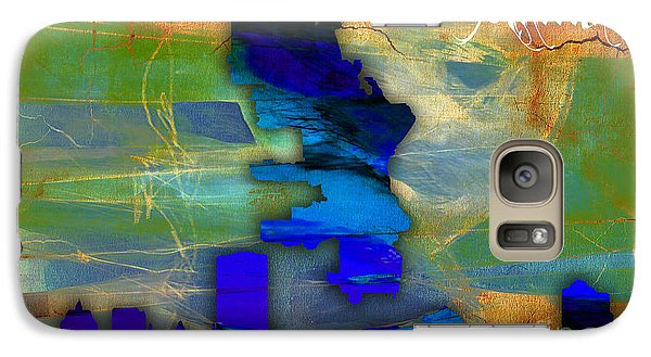 Milwaukee Map And Skyline Watercolor Galaxy Case by Marvin Blaine