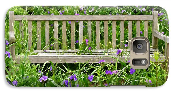 Galaxy Case featuring the photograph A Bench For The Flowers by Gary Slawsky
