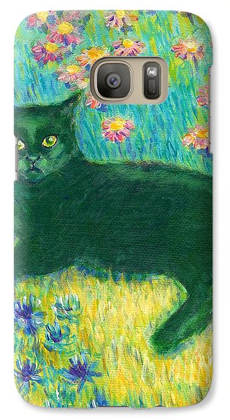 Galaxy Case featuring the painting A Black Cat On Floral Mat by Jingfen Hwu