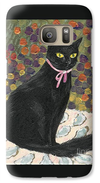 Galaxy Case featuring the painting A Black Cat On Oyster Mat by Jingfen Hwu