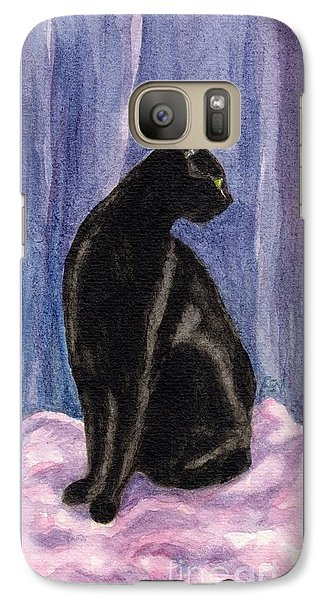 Galaxy Case featuring the painting A Black Cat's Sexy Pose by Jingfen Hwu