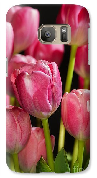 Galaxy Case featuring the photograph A Bouquet Of Pink Tulips by Nick  Biemans