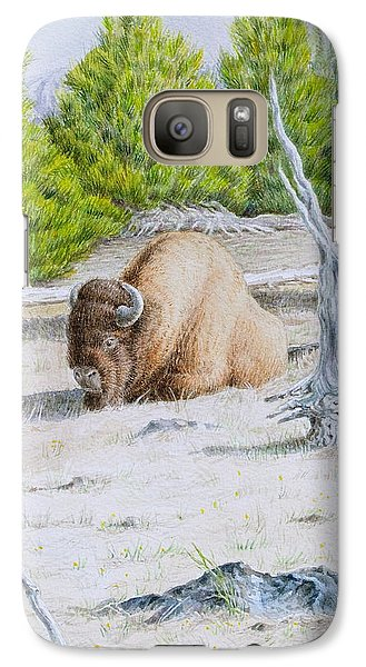 Galaxy Case featuring the painting A Buffalo Sits In Yellowstone by Michele Myers