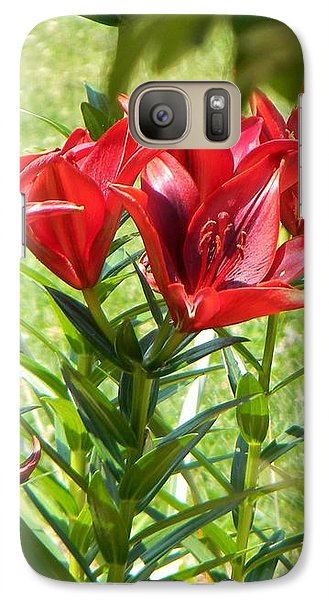 Galaxy Case featuring the photograph A Burst Of Red by Jean Goodwin Brooks