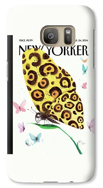 A Butterfly With A Cheetah Pattern Rests Galaxy S7 Case