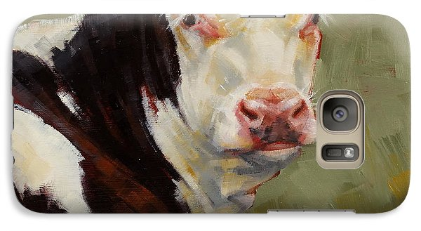 Galaxy Case featuring the painting A Calf Named Ivory by Margaret Stockdale