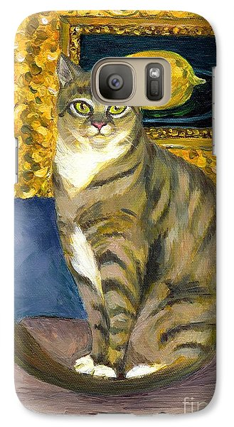 Galaxy Case featuring the painting A Cat And Eduard Manet's The Lemon by Jingfen Hwu