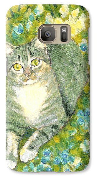 Galaxy Case featuring the painting A Cat And Flowers by Jingfen Hwu