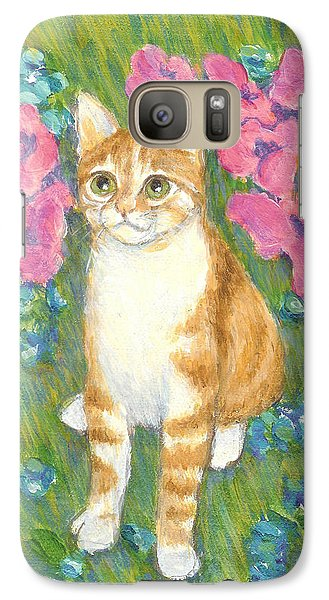 Galaxy Case featuring the painting A Cat And Meadow Flowers by Jingfen Hwu