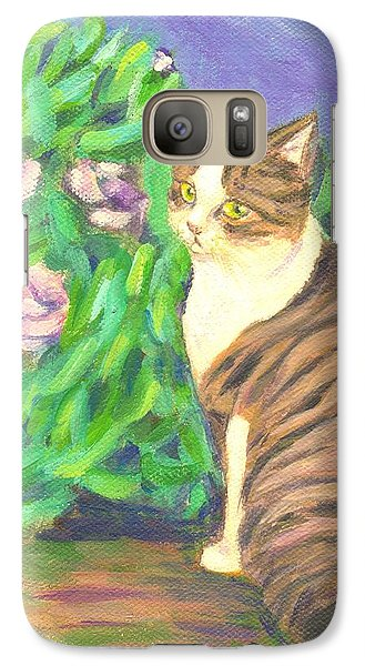 Galaxy Case featuring the painting A Cat At A Garden by Jingfen Hwu