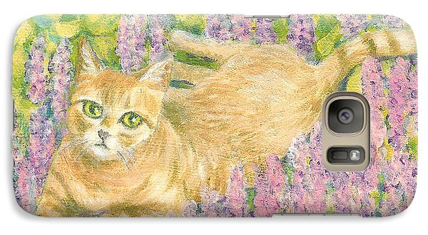 Galaxy Case featuring the painting A Cat Lying On Floral Mat by Jingfen Hwu