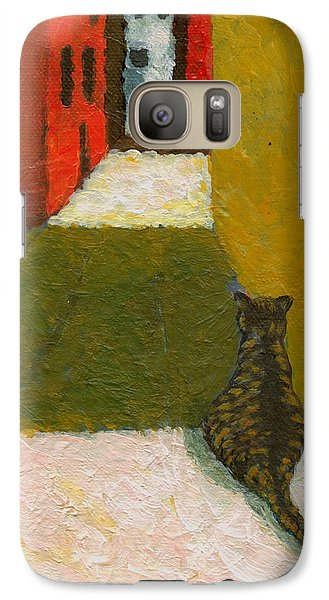 Galaxy Case featuring the painting A Cat Waiting For Someone's Return by Jingfen Hwu
