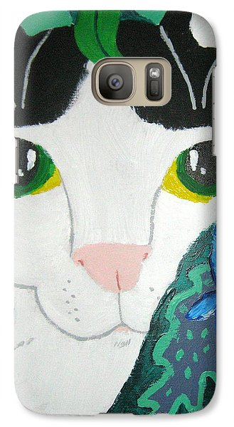 Galaxy Case featuring the painting A Cat's Fancy by Wendy Coulson