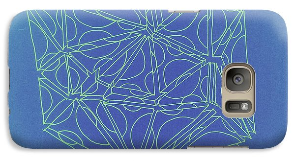Galaxy Case featuring the drawing A Closed Case In Blue by Nancy Kane Chapman