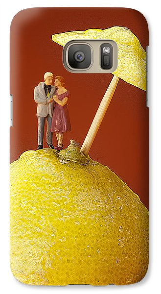 Galaxy Case featuring the painting A Couple In Lemon Rain Little People On Food by Paul Ge