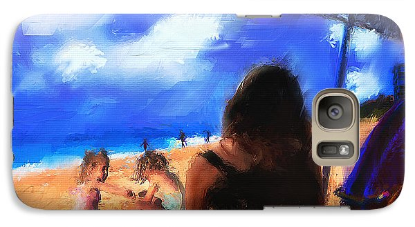 Galaxy Case featuring the painting A Day At The Beach by Ted Azriel