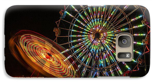 Galaxy Case featuring the photograph Colorful Carnival Ferris Wheel Ride At Night by Jerry Cowart