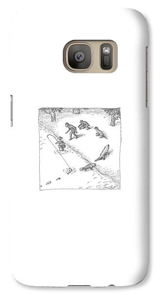 Ape Galaxy S7 Case - A Fisherman Wading In The Water  Catches A Fish by John O'Brien